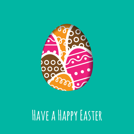 coloured: Simple Easter wishing card with a stylized egg in flat design in vector