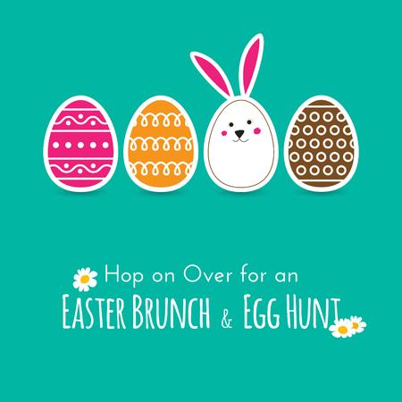Eenvoudige Pasen die kaart met eieren en konijntje in plat design in vector Stock Illustratie