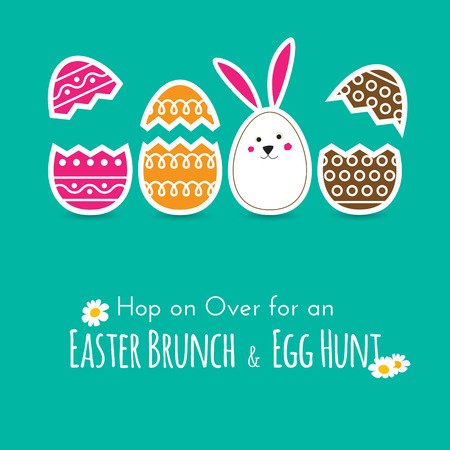 wishing card: Simple Easter wishing card with cracked eggs and bunny in flat design in vector Illustration