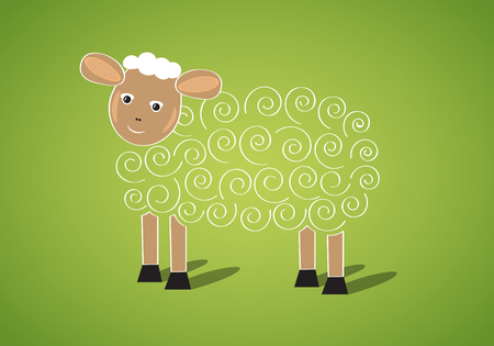 lambkin: Cute Easter sheep banner in vector