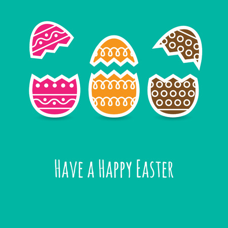 crunches: Simple Easter wishing card with cracked eggs in flat design in vector Illustration