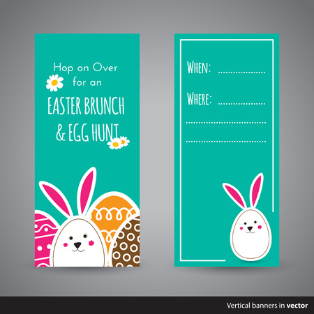 wishing: Two simple Easter wishing cards with eggs and bunny in flat design in vector, back and front side
