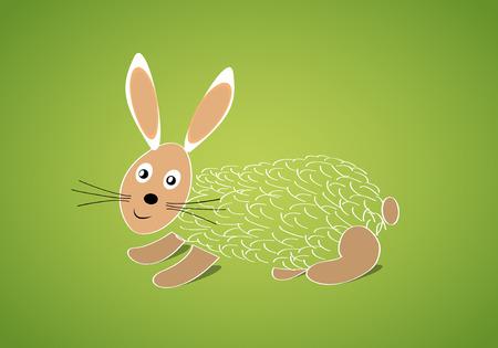 lambkin: Cute Easter rabbit banner in vector Illustration