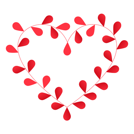 red leaves: Heart made of red leaves in vector Illustration