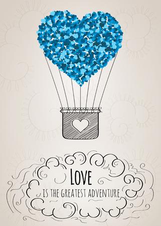 Valentin-Karte mit einem herzförmigen Heißluftballon und eine Liebes Slogan in Vektor