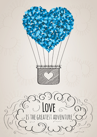 adventures: Valentine card with a heart-shaped hot air balloon and a love slogan in vector Illustration