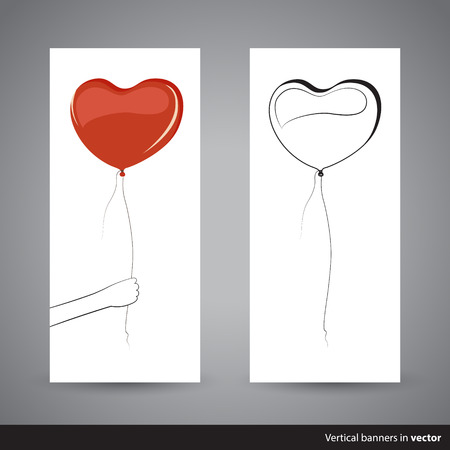 heartshaped: Two simple vertical Valentine cards showing heart-shaped balloon, back and front side, in vector