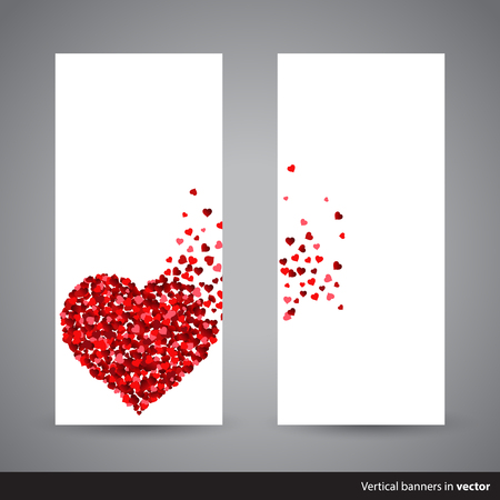 scattering: Two vertical Valentine cards showing scattering heart made of little red hearts, back and front side, in vector