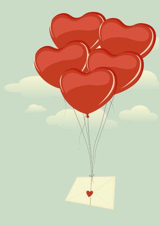 love letter: Sobre con el corazón volando alto en el cielo en un manojo de globos en forma de corazón