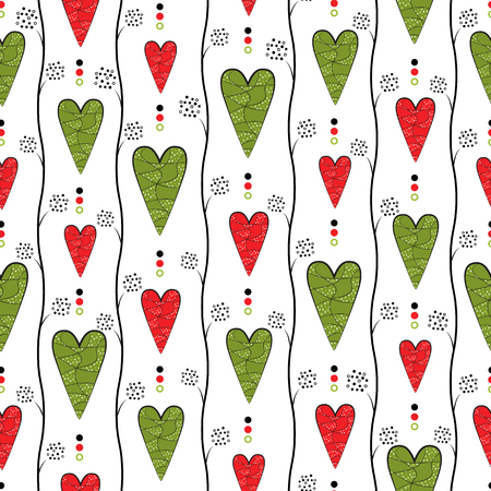 never ending: Seamless retro pattern with red hearts on white background. Vector.