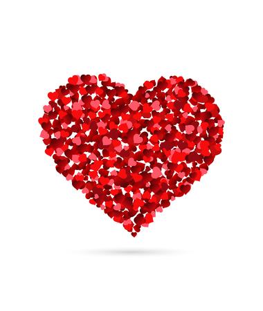 aniversario de boda: Corazón hecho de pequeños corazones aislado en el fondo blanco