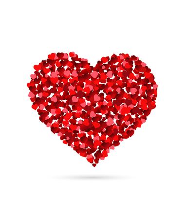 Heart made of small hearts isolated on white background