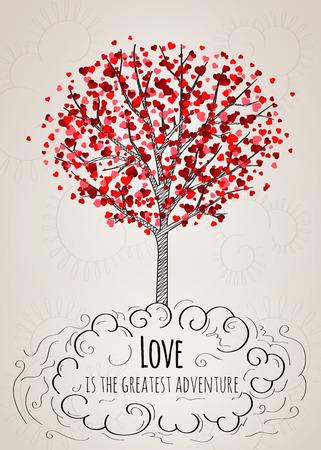 aniversario de boda: Tarjeta de San Valentín con un árbol cubierto de corazones y un eslogan amor en vector