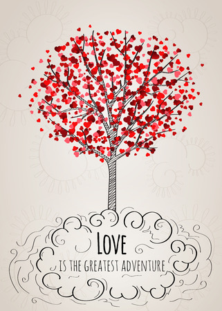 love tree: Valentine card with a tree covered with hearts and a love slogan in vector
