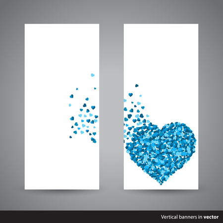 strew: Two vertical Valentine cards showing scattering heart made of little blue hearts, back and front side, in vector