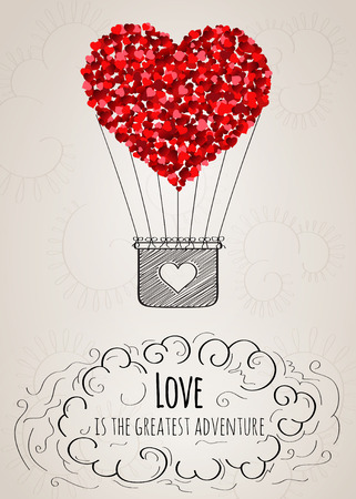 hands in the air: Valentine card with a heart-shaped hot air balloon and a love slogan in vector Illustration