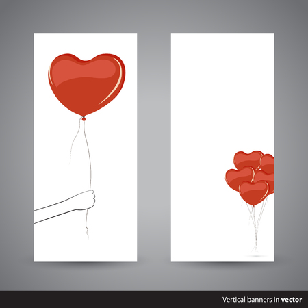 grabbing at the back: Two simple vertical Valentine cards showing heart-shaped balloon, back and front side, in vector