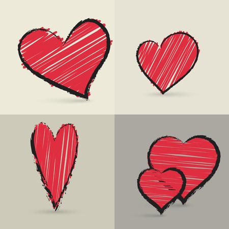 Tarjeta con la colección de corazones pintados a mano Ilustración de vector