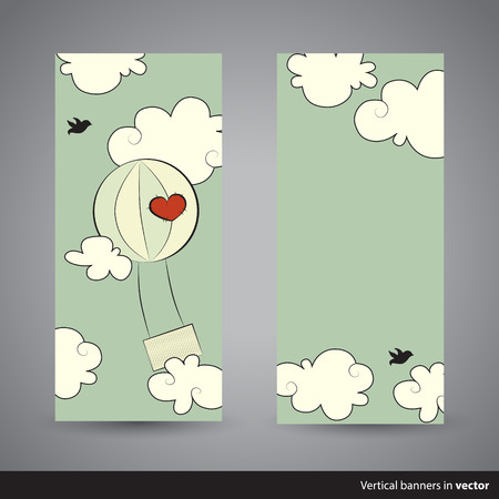 cloud shape: Two retro vertical Valentine cards showing hot aired balloon, back and front side, in vector Illustration