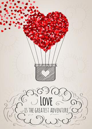 volar: Tarjeta de San Valentín con un globo de aire caliente en forma de corazón cayendo a pedazos en pequeños corazones y un eslogan amor en vector