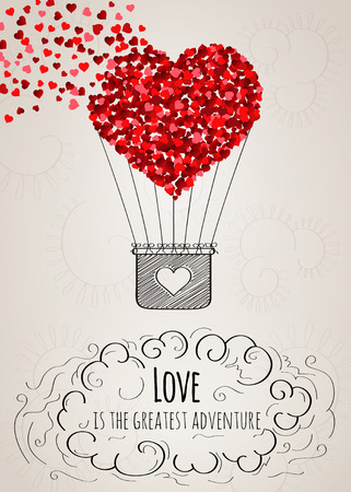 hands in the air: Valentine card with a heart-shaped hot air balloon falling apart into small hearts and a love slogan in vector