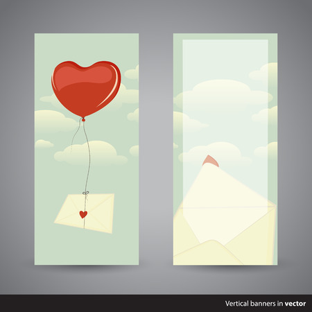 love letter: Two retro vertical Valentine cards showing heart-shaped balloon carrying a love letter and opened envelope, back and front side, in vector