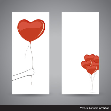 grabbing back: Two simple vertical Valentine cards showing heart-shaped balloon, back and front side, in vector
