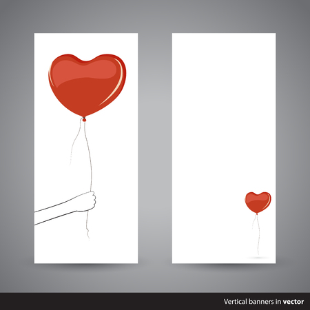 minimalist: Two simple vertical Valentine cards showing heart-shaped balloon, back and front side, in vector