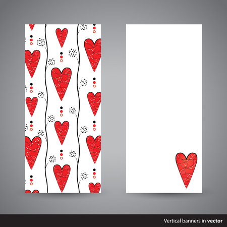 front side: Two simple vertical Valentine cards, back and front side, in vector