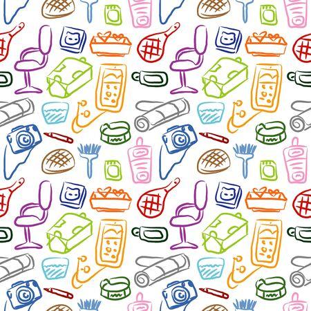 stuffs: Room pattern colorful Illustration