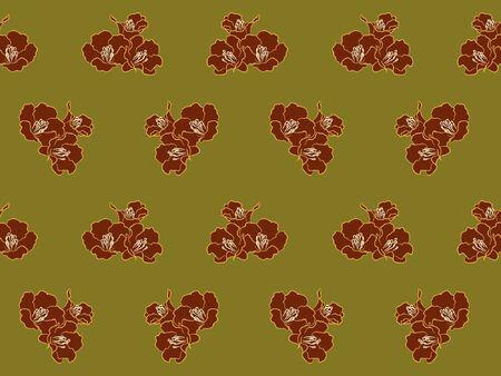 carmine: Flor roja en modelo verde