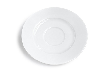 plainness: Blank plate isolated.