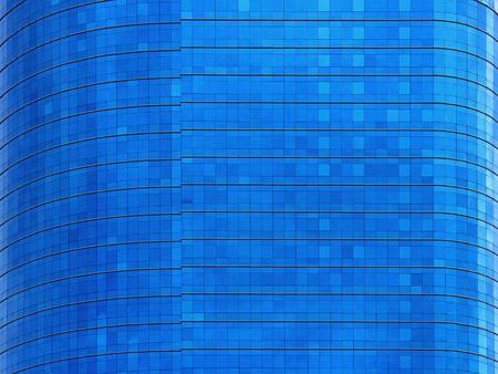 Blue window curve building. Stock Photo