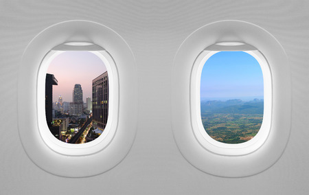 window: 2 views window plane. Stock Photo