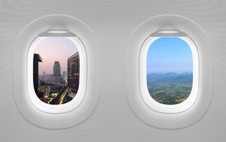 flight: 2 views window plane. Stock Photo