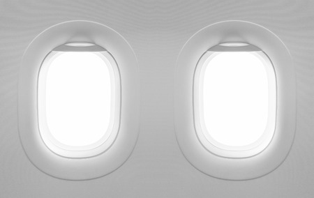 airplane window: 2 blank windows plane.