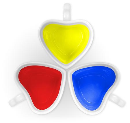 color in: Color primario en tazas amor aislado.