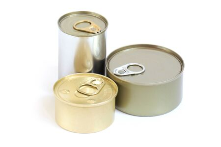 ammonium: 3 size of aluminium can food isolated. Stock Photo