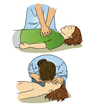 Vector Cartoon - CPR for child.