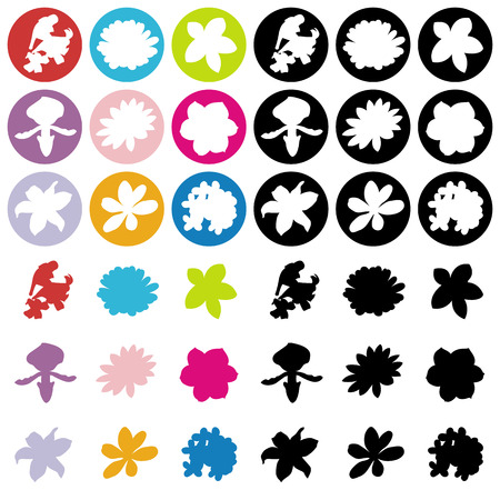 signboard form: 9 Flowers flat icons. Illustration
