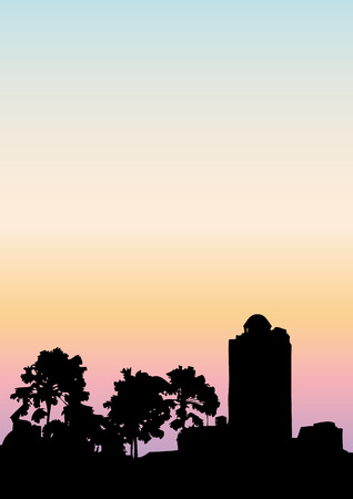 city background: Sunset city view silhouette background, vector illustration. Illustration