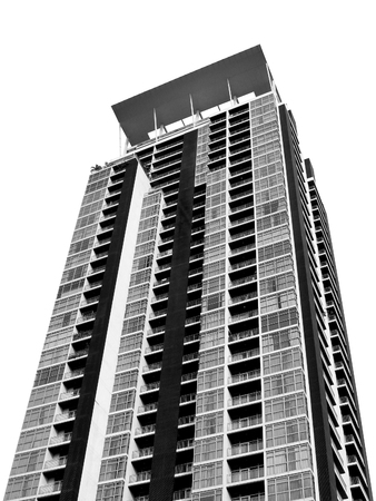 inexpressive: Square building in capital city Black and white scene isolated Stock Photo