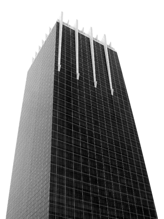 tabular: Square building in capital city Black and white scene isolated Stock Photo