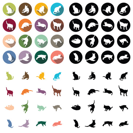 signboard form: Cat flat icon set 16 colors. Illustration