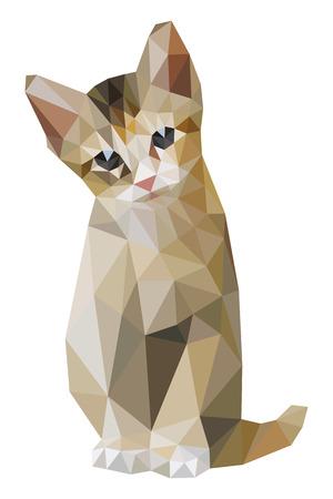brown: Brown cat sitting low polygon