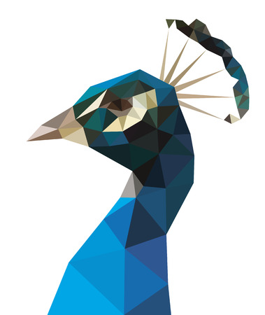 Low polygon blue peacock isolated Illustration