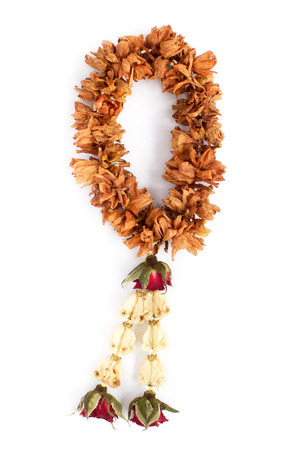 wizened: Brown dry garland with rose