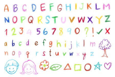 colored pencil: Colorful freehand alphabet by colored pencil