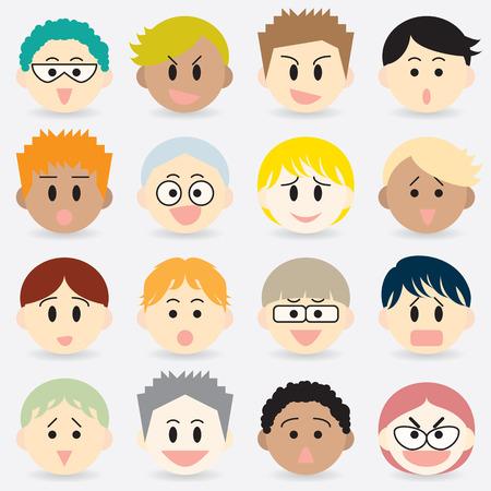 Set of boy face cartoon 16 design