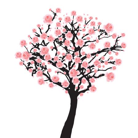 Pieno albero di fioritura di sakura Cherry blossom Vettoriali